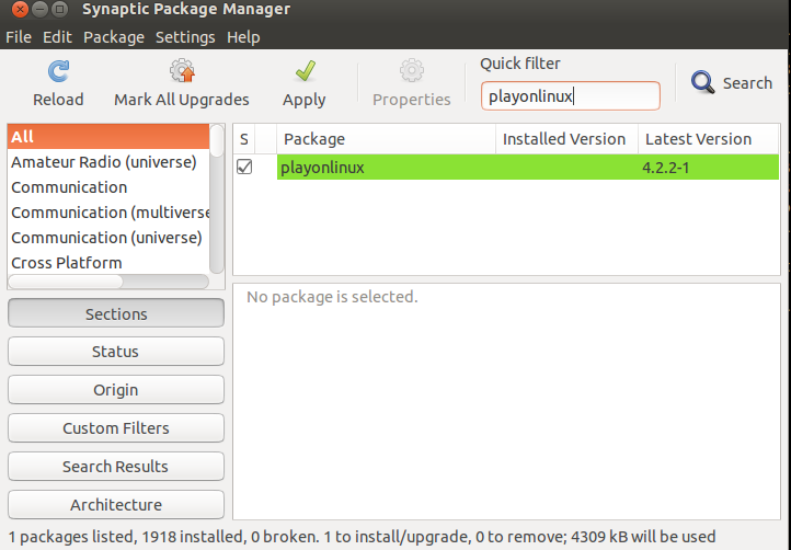 synaptic package manager playonlinux
