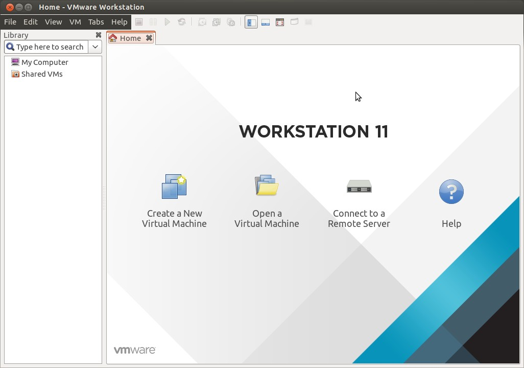 Home-screen-vmware-workstation