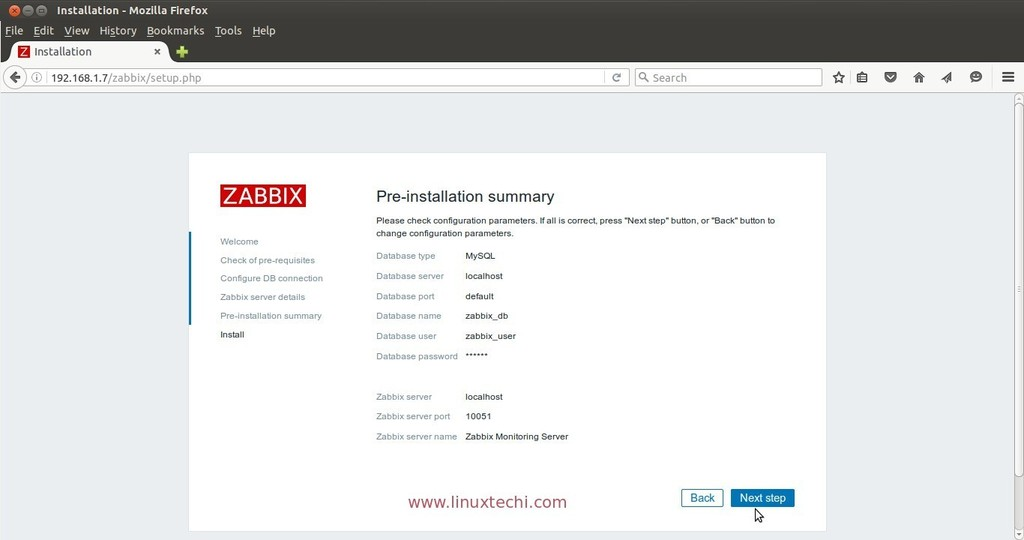 Pre-installation-summary-zabbix-server