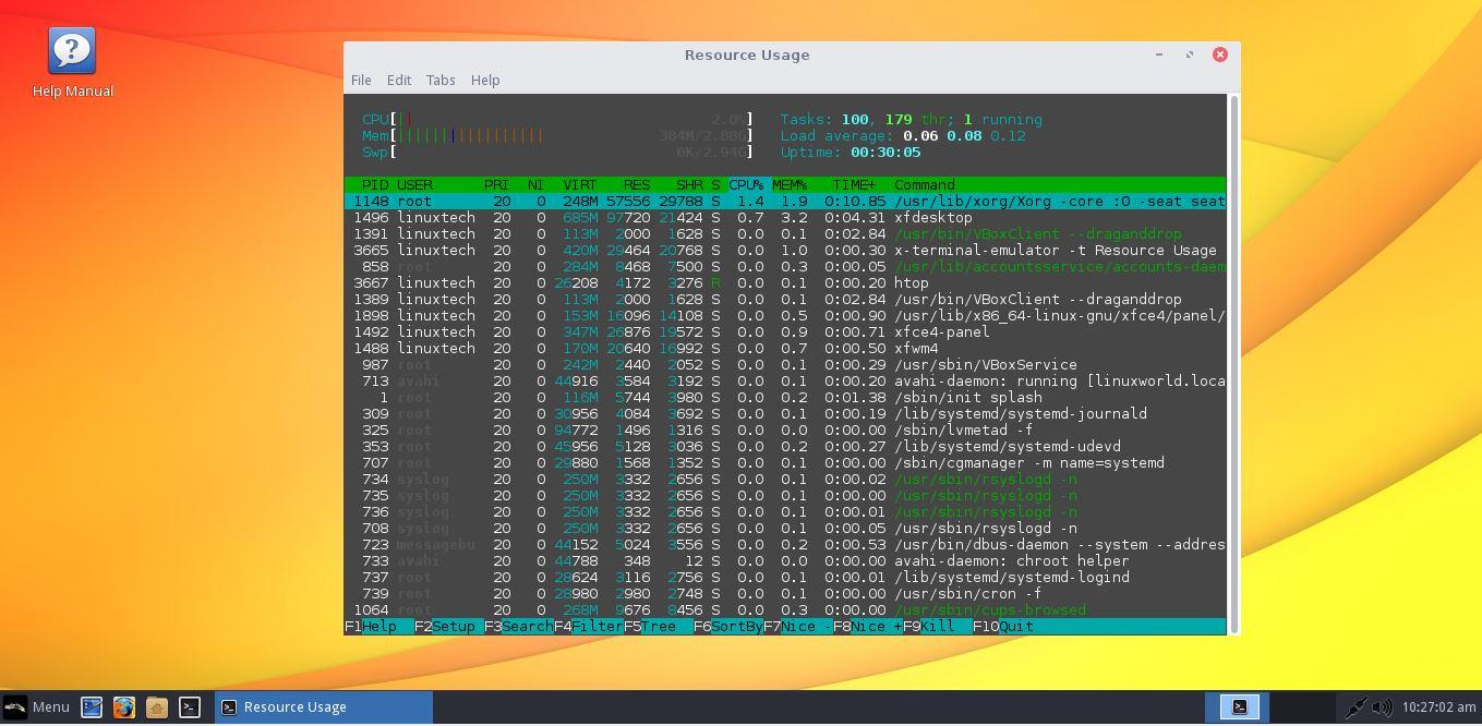 Linux-Lite-Resource-Usage