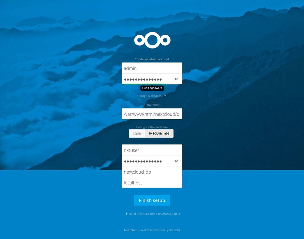 nextcloud-gui-installation