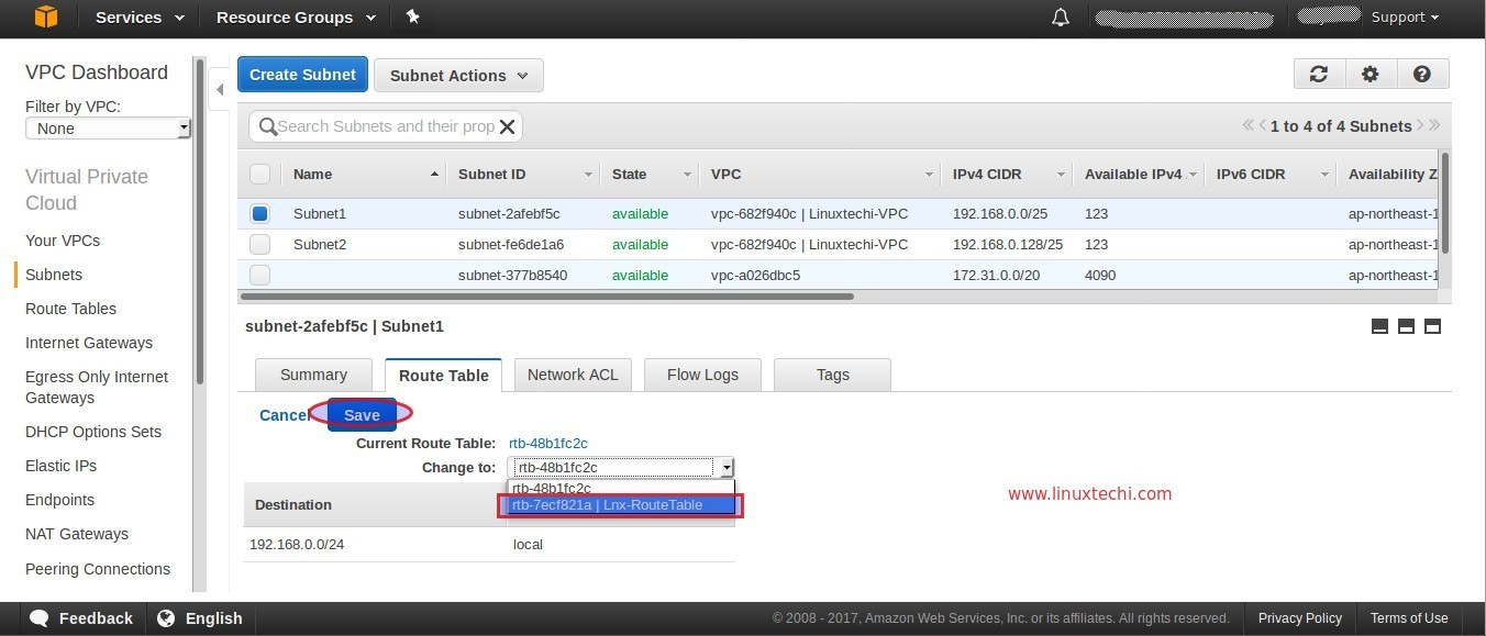 Change-RouteTable-Subnet1-VPC-AWS