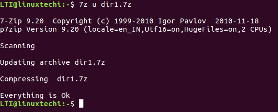How to use 7-Zip Compression tool from Linux Terminal