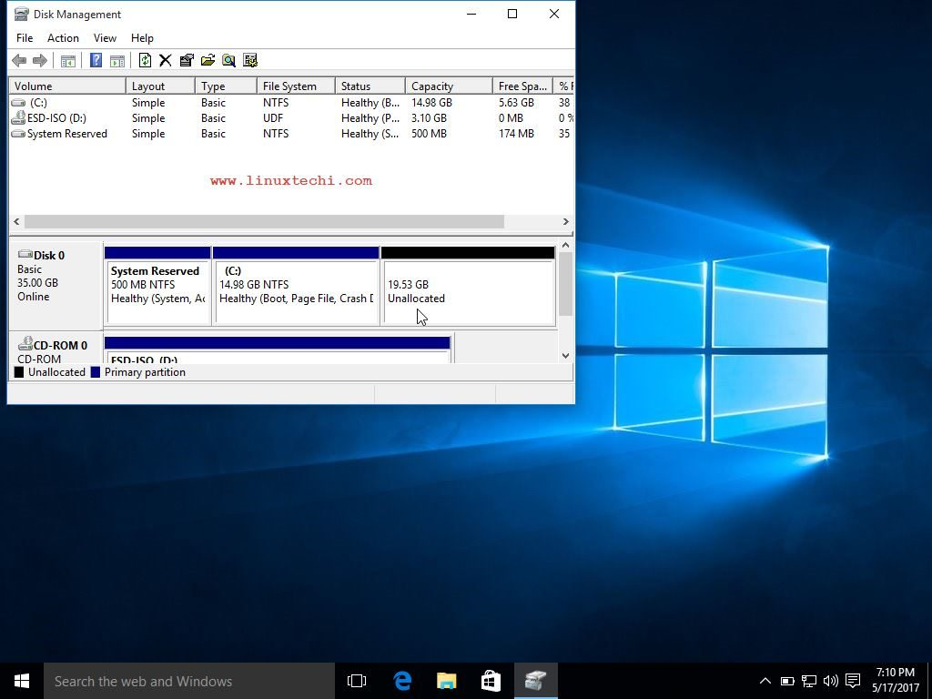 Unallocated-Space-Windows10