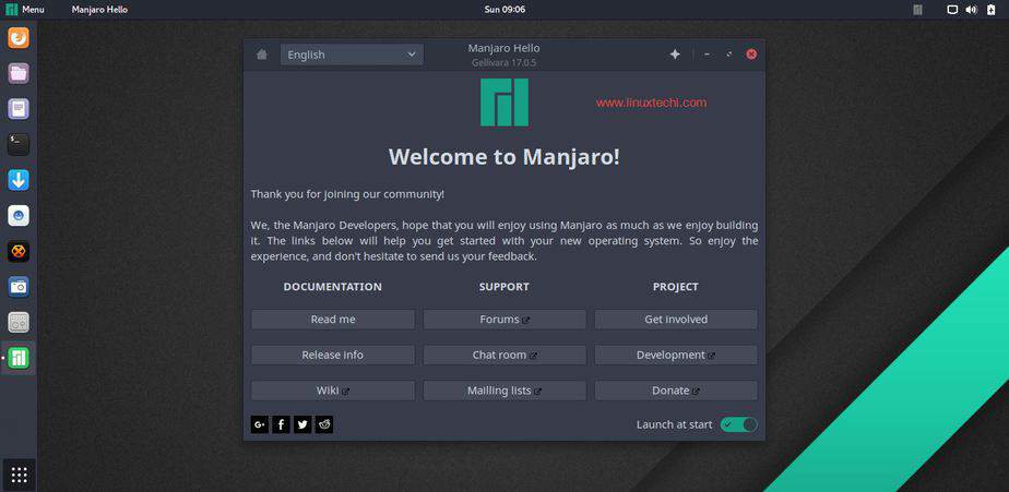 Manjaro-17-05-Welcome-Message-Gnome