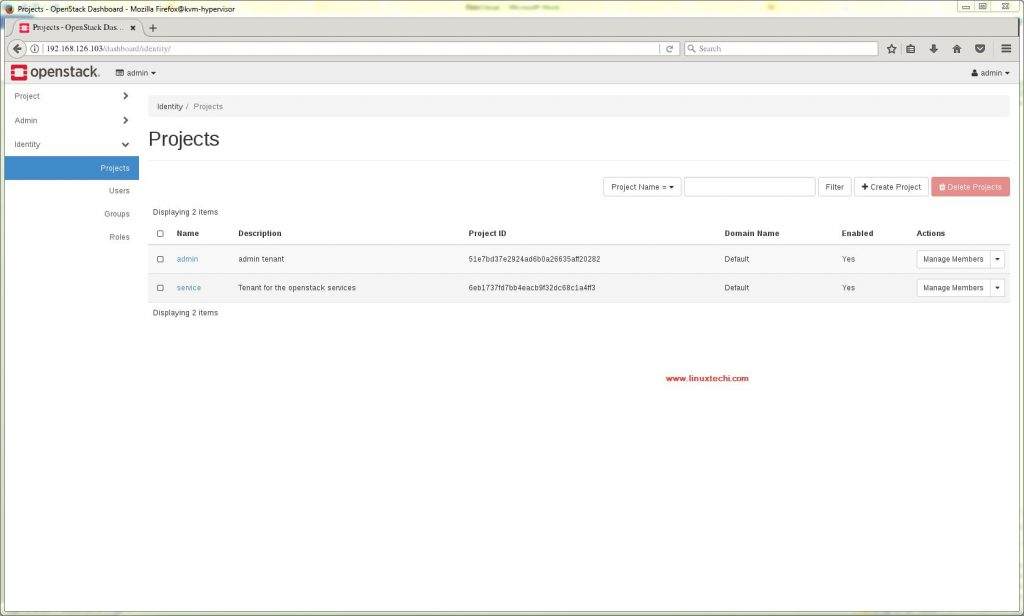 Projects -OpenStack-Dashboard