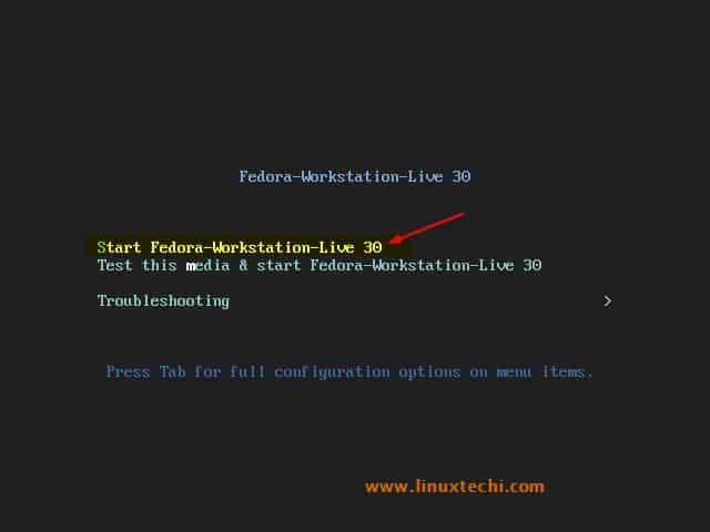 Choose-Start-Fedora-Workstation-30-Live