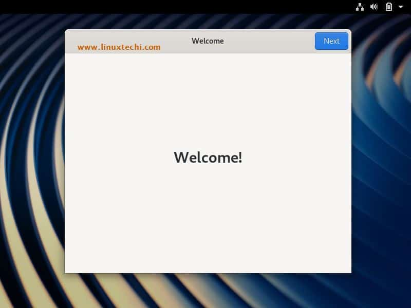 Welcome-Screen-After-Fedora30-Installation