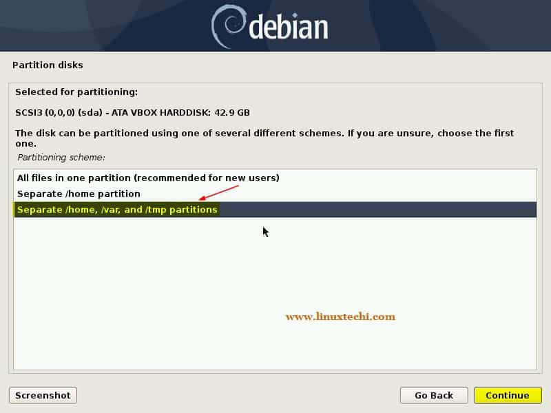Guided-Separate-Partitions-Debian10-Installation