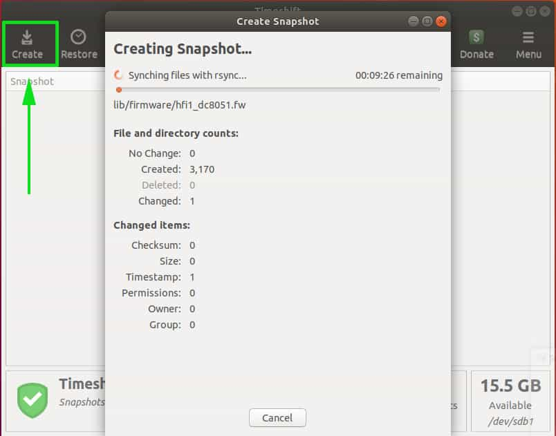 Create-snapshot-timeshift
