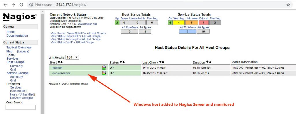 Windows-Host-added-Nagios