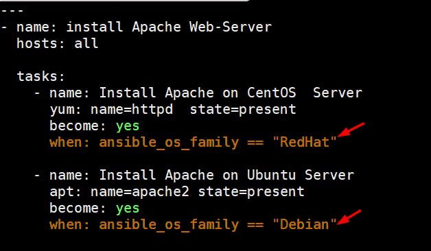 Ansible-Conditionals-install-apache-server