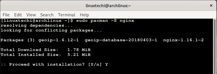 Install-nginx-arch-linux