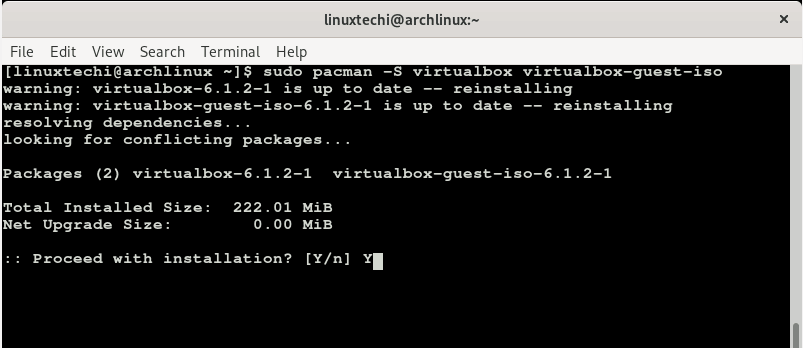 pacman-command-install-virtualbox