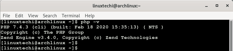 php-version-check-arch-linux