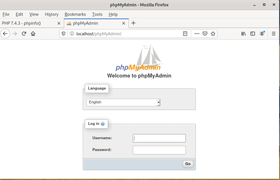 phpmyadmin-home-page-arch-linux