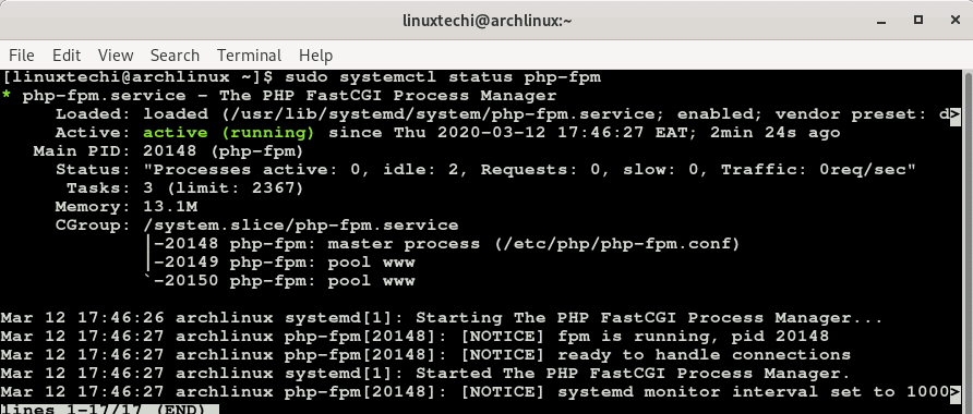 status-php-fpm-service-arch-linux