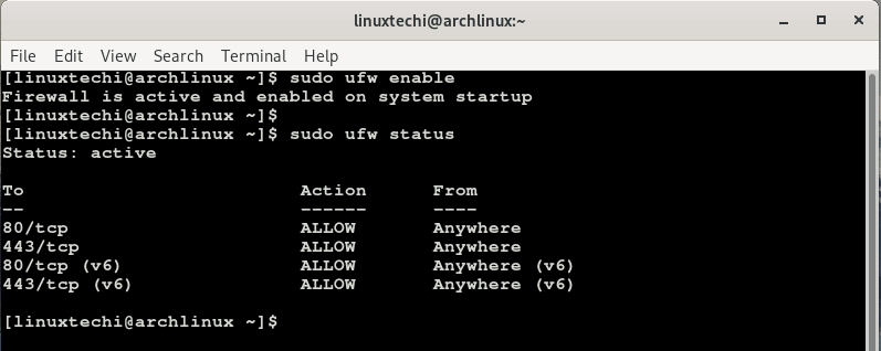 ufw-status-arch-linux