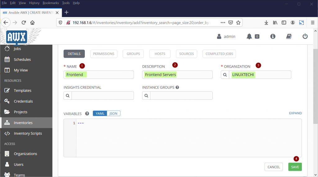Ansible-AWX -CREATE-INVENTORY