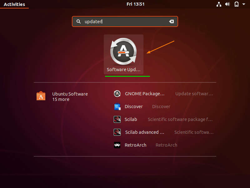 Search-Software-Update-Ubuntu18