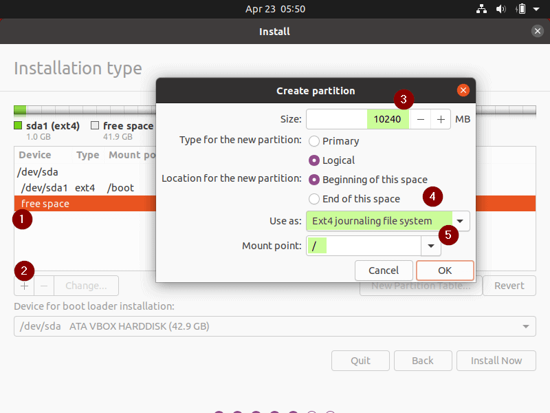 slash-root-partition-Ubuntu20-04-lts-installation