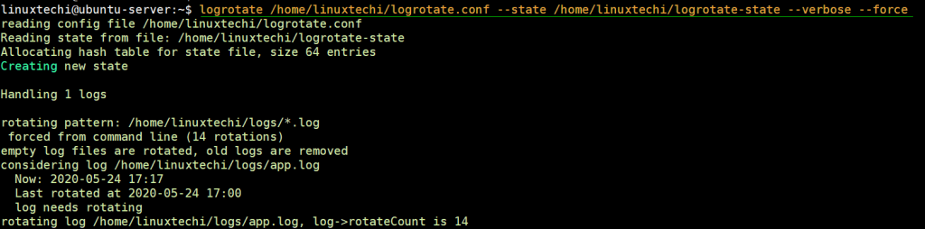 Forefully-logrotate-linux-log-files