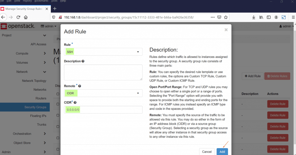 Manage-Security-Group Rules-ssh-OpenStack