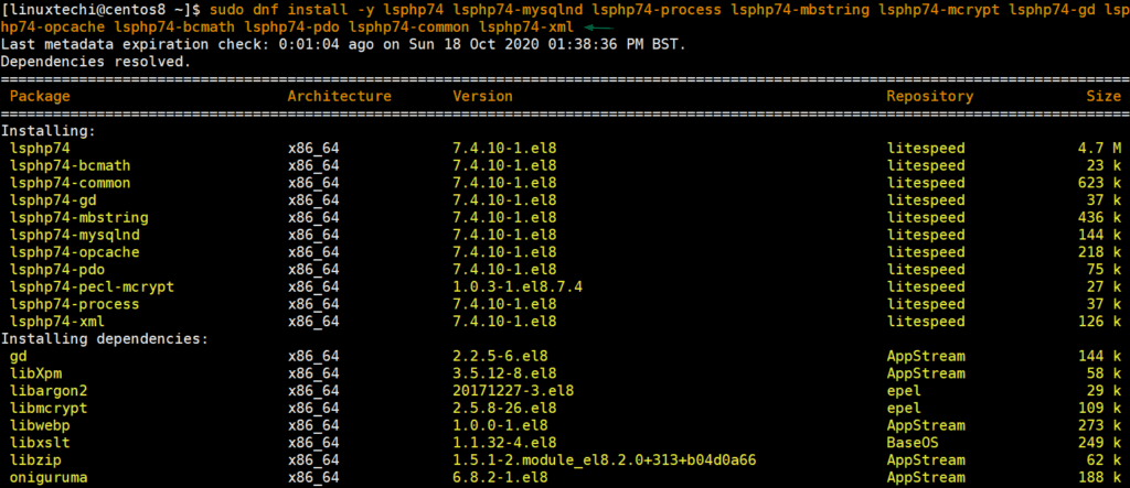 Install-lsphp74-centos8-dnf-command