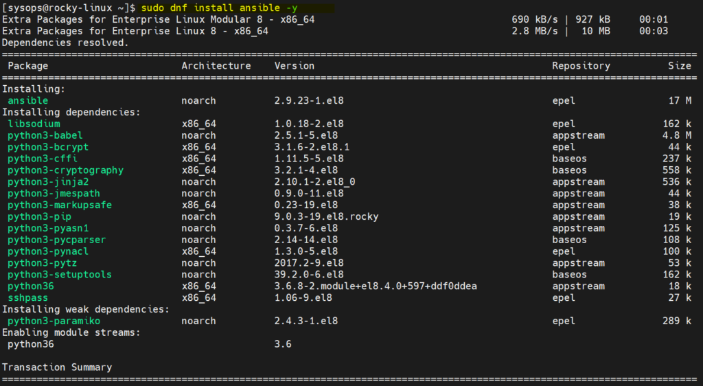 Install-Ansible-with-dnf-command-rocky-linux